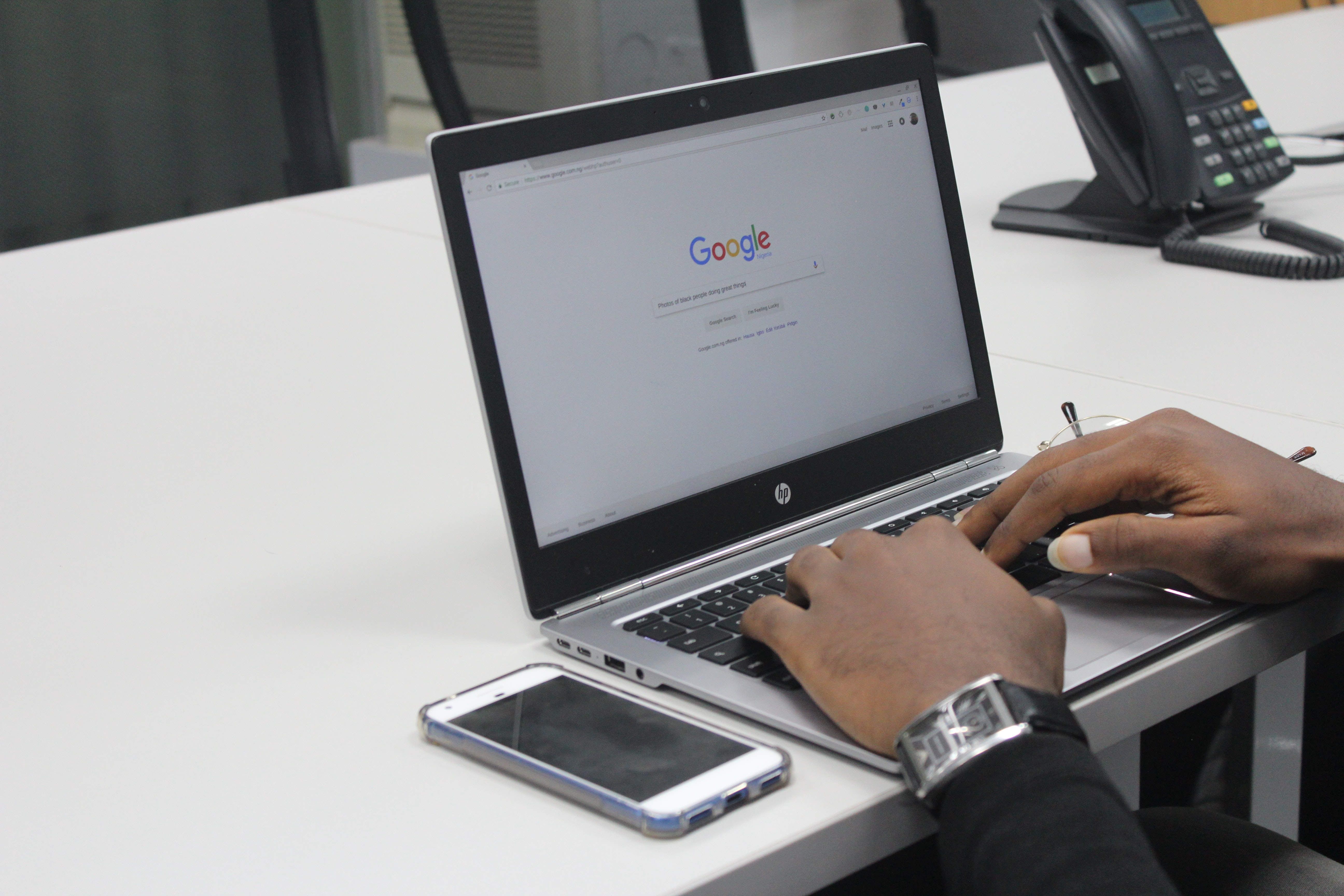 Google search on laptop, SEO to improve customer experience