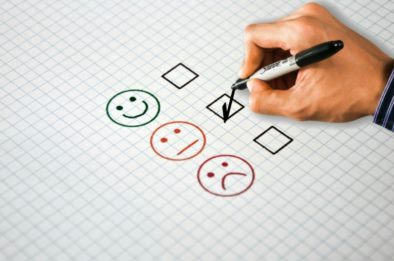customer experience survey smiley face tick boxes